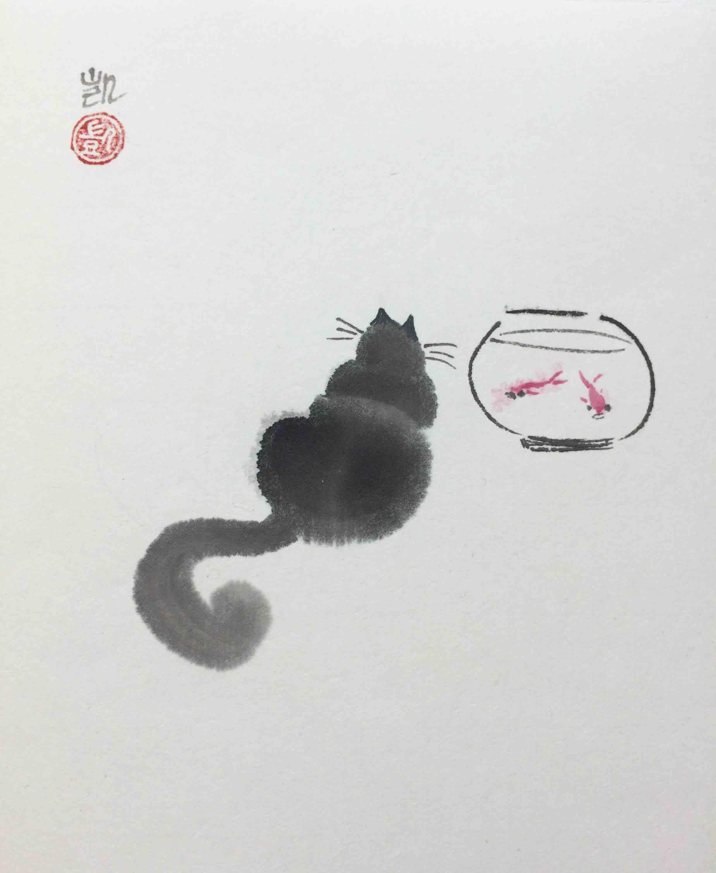 Katze und zwei Fische