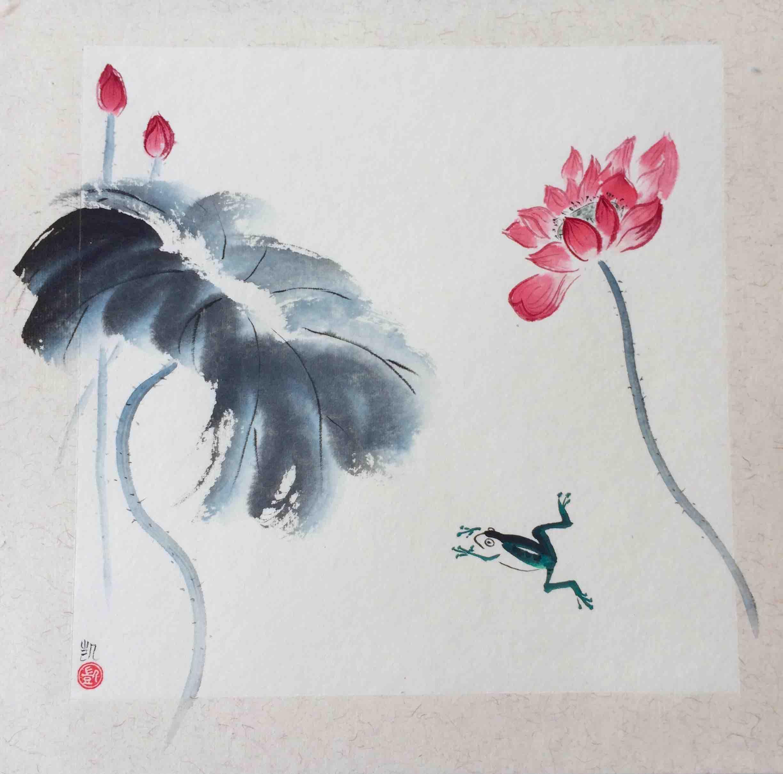 Frosch im Lotusteich