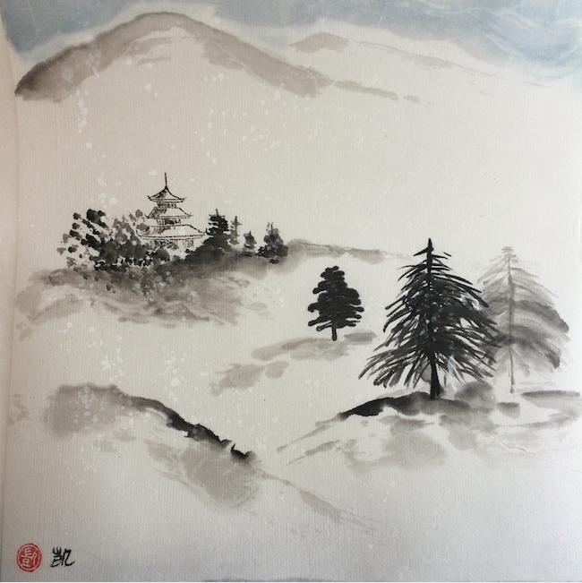 Pagoda in Schneelandschaft