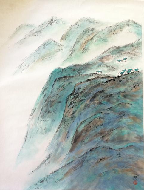 Türkise Berge im Nebel