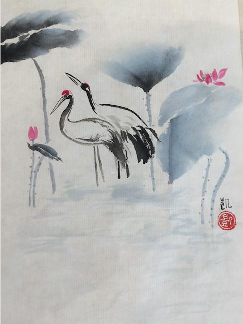 Kraniche und blaue Lotusblätter