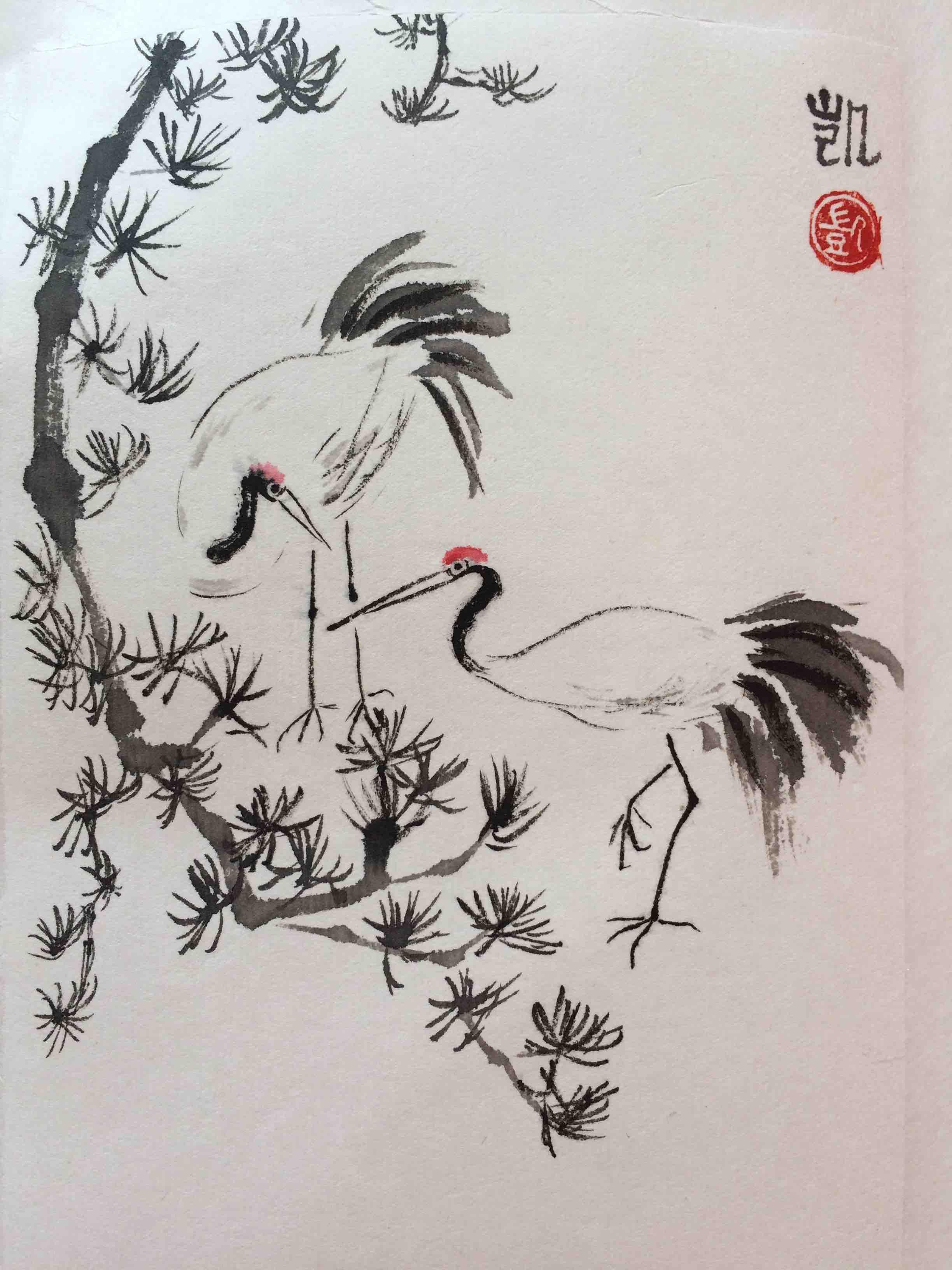 Kraniche mit chinesischer Kiefer