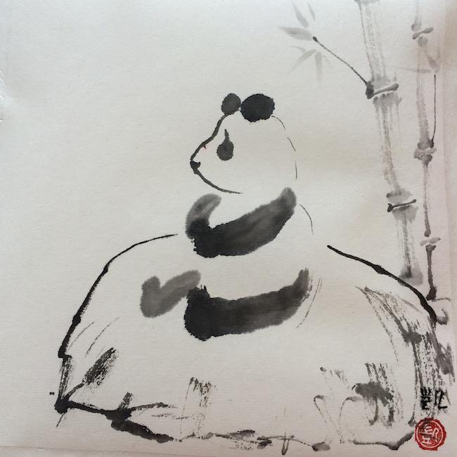 Panda auf dem Stein