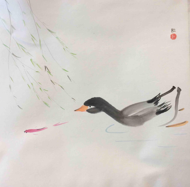 Ente schwimmt mit Fisch