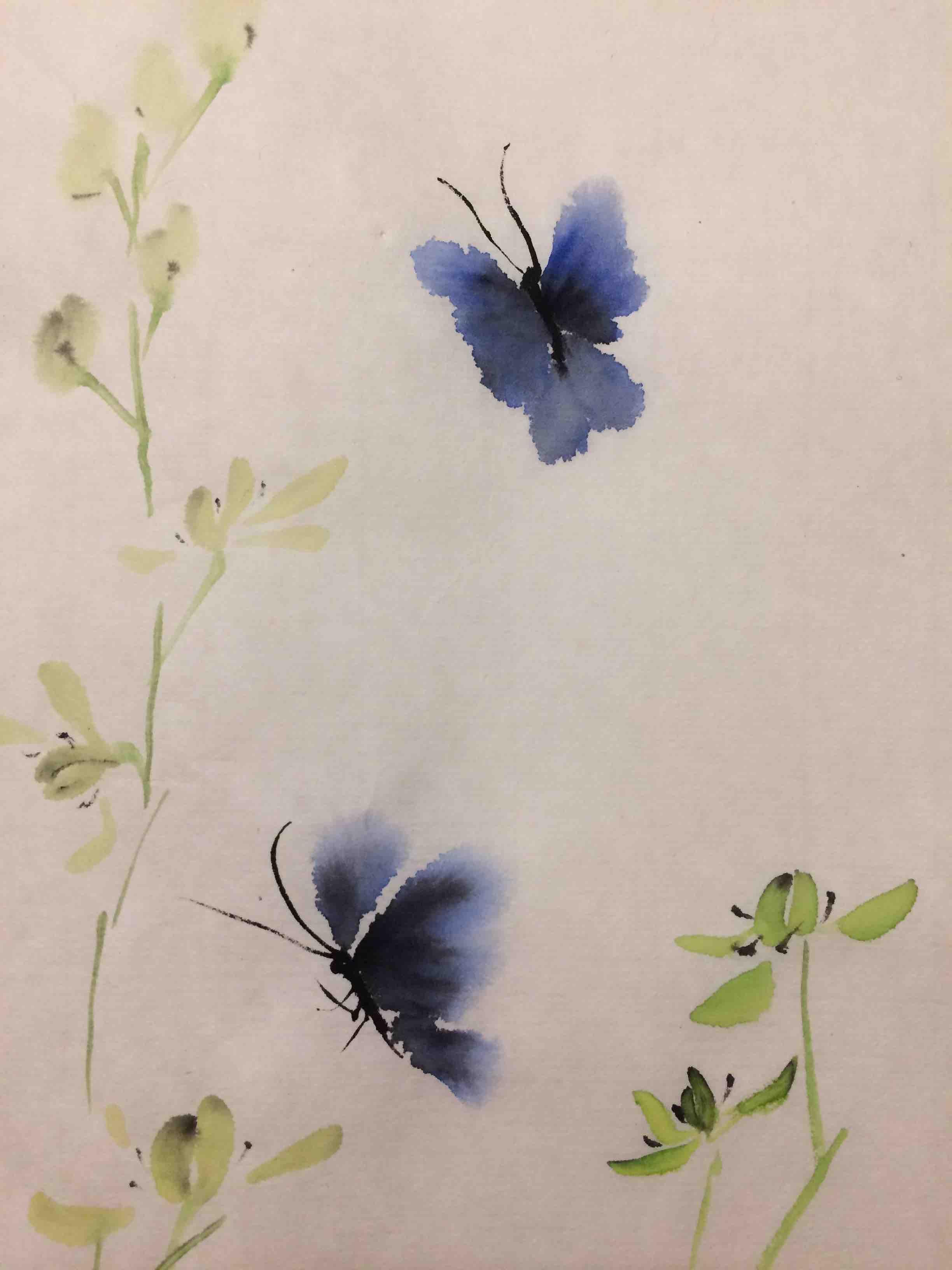 Blaue Schmetterlinge und chinesische Orchidee