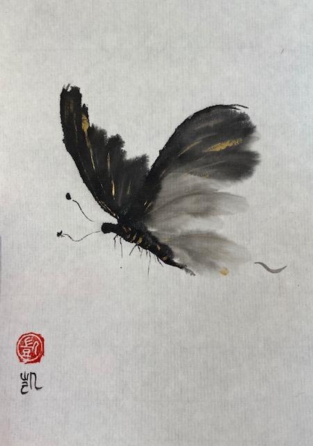 Schmetterling in schwarz und gold