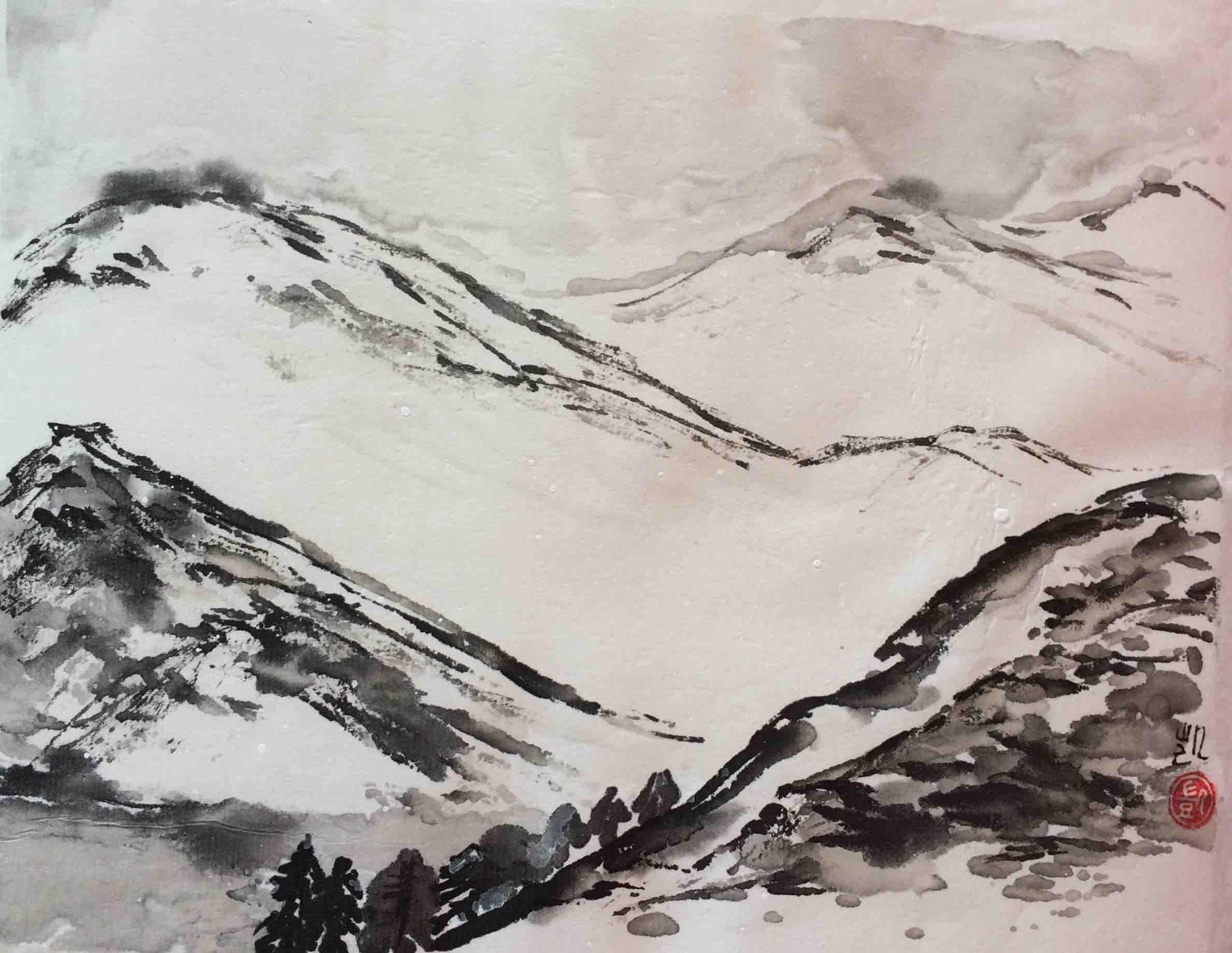 Winterlandschaft in schwarz und weiss