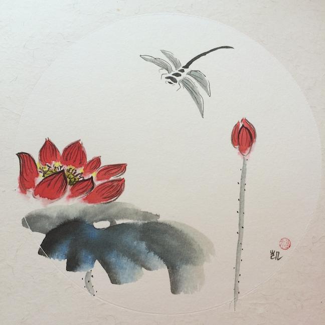 Lotus mit Libelle