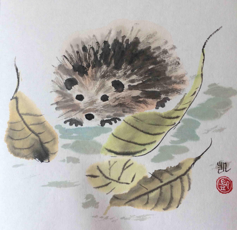 Igel mit Blättern