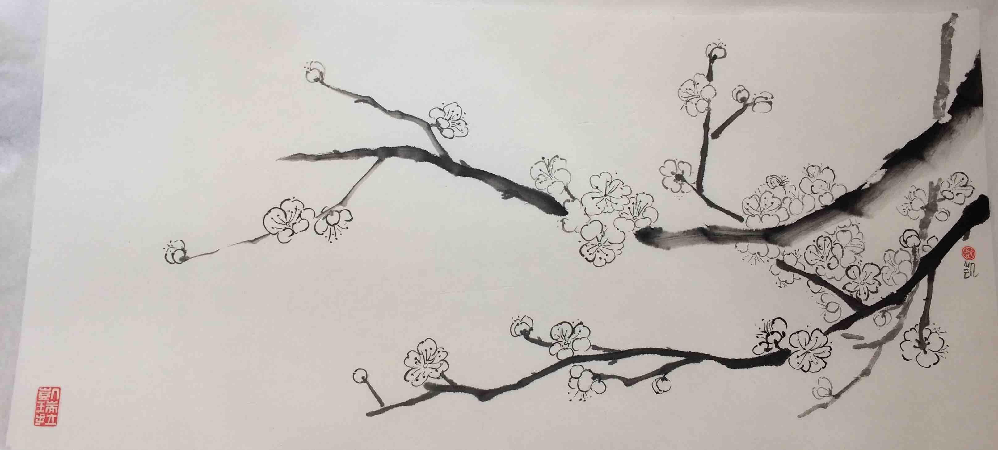 Pflaumenblüten am Zweig, lang