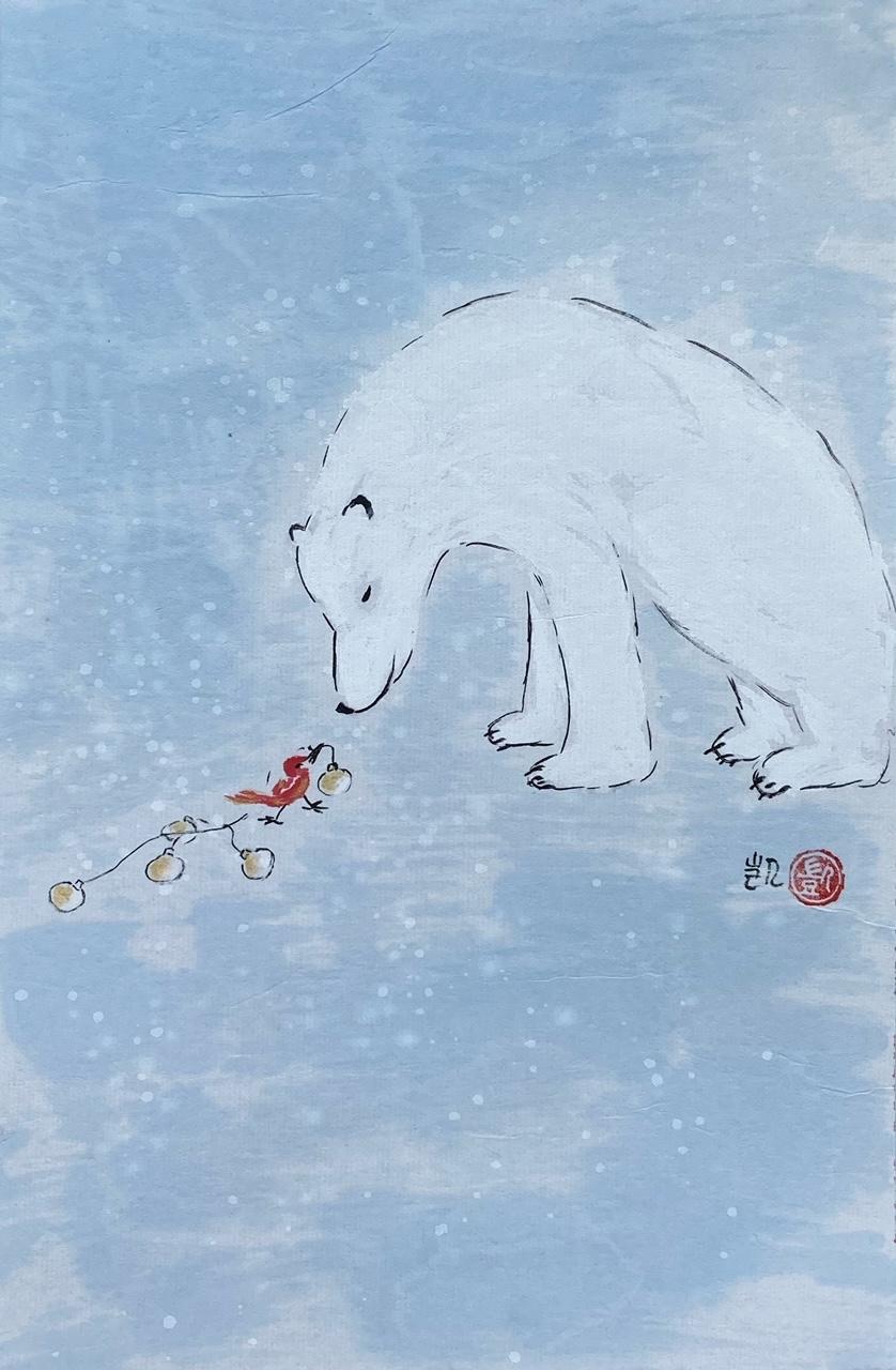 Eisbär wünscht frohe Weihnachten