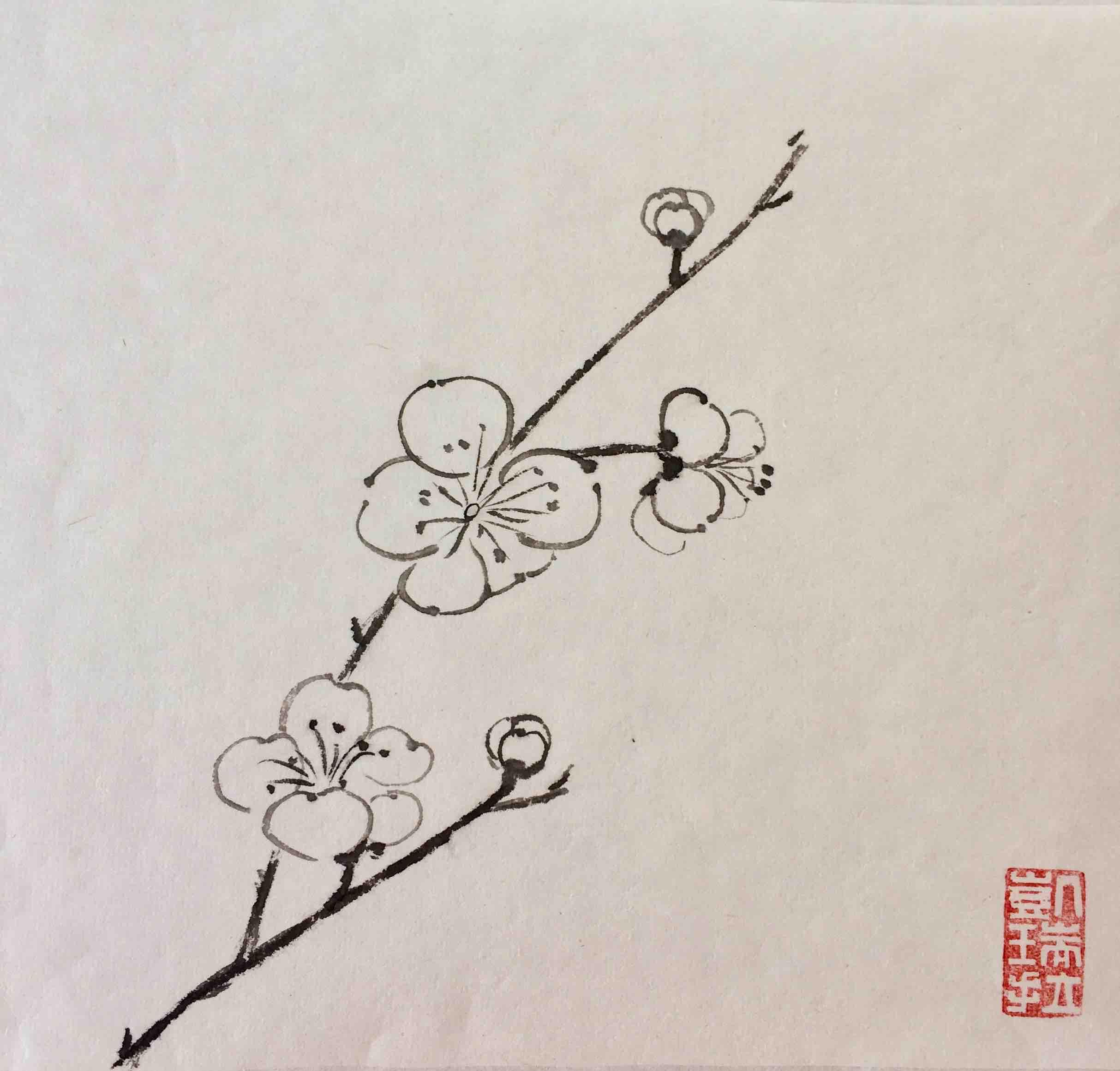 Pflaumenblütenzweig