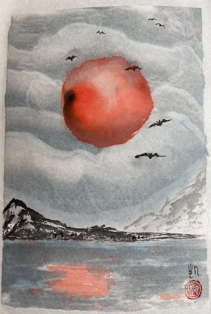 Halloween Mond mit Fledermäuse