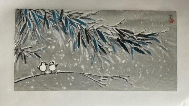 Es schneit im Bambuswald
